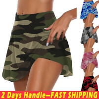 Womens Camo Athletic Skorts High Waist Tennis Golf Sport Skirt Camouflage Shorts