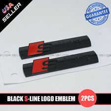 Black S-LINE Side Fender Marker Logo Emblem Decal Badge Sticker Decoration 2Pcs