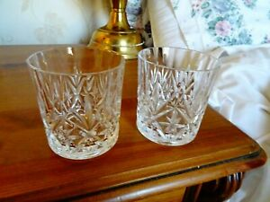Set of 2 cut glass whiskey glasses 225 ml