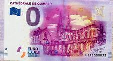 BILLET 0 ZERO EURO SOUVENIR TOURISTIQUE CATHEDRALE DE QUIMPER 2016