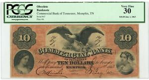 1863 $10 The Commercial Bank - Memphis, TENNESSEE Note CIVIL WAR Era PCGS VF 30