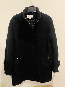 Anne Klein Women's Pea Coat Blended Wool Jacket Black Size Medium Lined M $199