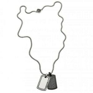 NIB Diesel DX1169040 Men's Stainless Steel Double Dog Tag Necklace