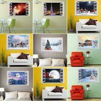3D Window View Wall Stickers Xmas Santa Claus Elk Deer Decal Mural Home