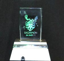 3D GLAS HOLOGRAMM STERNZEICHEN SKORPION MESSENEUHEIT       MAßE 4x4x5,1