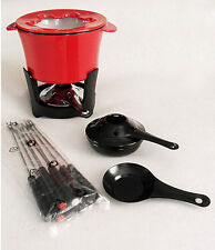 Red Cast Iron Enamel Heavy Duty Fondue Set with Extra Burner New w/o Box