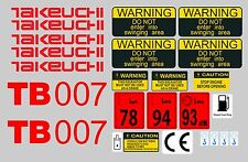 TAKEUCHI TB007 MINI DIGGER COMPLETE DECAL SET WITH SAFETY WARNING SIGNS