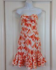 Cache  Coral Ivory Strapless Bling Accented Empire Waist Sz 4 Party/Event Dress