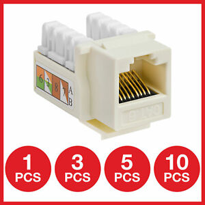 Cat6 Keystone Jack Punchdown Network Ethernet Wall Plate RJ45 Female Beige Lot