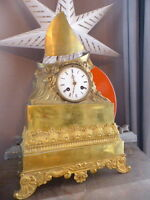Superbe ancienne Pendule Bronze doré Epoque Restauration Empire 19è Voilier RARE