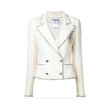 Auth Chanel 05C patch jacket blazer emblem 2005 double breasted FR36 UK8 US4