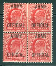 More details for sg o49 1d scarlet army official. unmounted mint block of 4
