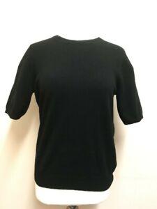 Ex M & S Autograph Pure Cashmere Round Neck Black Knit Top Size 10 RP £69