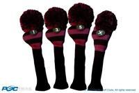 Tour 1 3 5 X Driver Woods Purple & Black Golf Headcover Knit Pom Pom Cover