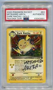 Mitsuhiro Artia Signature PSA DNA Cert Authentic Dark Raichu #83 Signed Pokemon