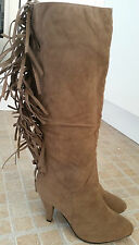 Hot Trend TALLY WELL Tan Calf Length Faux Suede Camel Tassel Boots Size 3 New