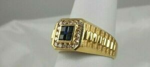 1.00 CT Genuine Sapphire and Diamond Men's Estate Ring – 14KT Yellow Gold