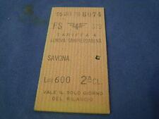 BIGLIETTO TRENO CARTONATO 1979 GENOVA SAMP. SAVONA -  2 CLASSE LIRE 600 4-231/3