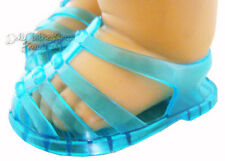 Blue Jelly Summer Sandals Jellies Shoes for Bitty Baby + Twins Doll Clothes