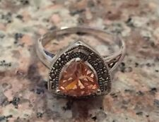 Beautiful Yellow Topaz CZ Sterling Silver Ring Size 7