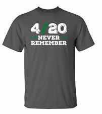Divertido 4/20 Nunca Remember Adulto Unisex Camiseta Manga Corta
