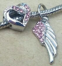 Hold You In My Open Heart Pink Crystal Angel Wing Pendant European Beads Charms