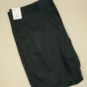 Roundtree & Yorke Total Flex Classic Fit Flat Front Shorts Men's Sz 46 Black NWT