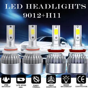 White 9012 LED Headlight Bulbs + H11 Fog Lights For Fiat 500 500X 500L 2014-2017
