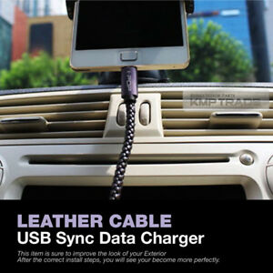 Universal Leather Cable USB Sync Data Charger Micro 5pin 1M for All Vehicle