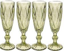 Set di 4 Bicchieri da Tall Verde Champagne flauti 180ml taglio intricato VETRO VINTAGE