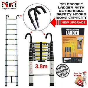 3.8m TELESCOPIC ALUMINIUM LADDER WITH SAFETY HOOKS EXTENSION EXTENDABLE COMPACT