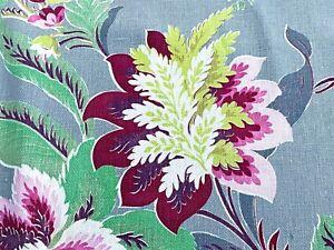 CUTE! Sweet Beach Cottage Floral Barkcloth Era Vintage Fabric Drape Curtain 30's