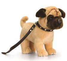 Plüschtier Hund mit Leine Kuscheltier Keel Toys, Stofftier Mops Welpe ca.30cm