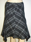 MARKS and SPENCER Grey Mix Wool Blend Lined Dip Hem Business Skirt Size 8