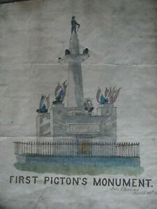 First Picton's Monument Carmarthen. W/Colour John Thomas 1888