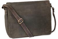 Woodland Luxe Sac à bandoulière / de pc portable en FIN CUIR buffle brun