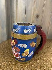 Vtg Vintage Hand Painted Wooden Mug / Cup Beer Stein Folk Art