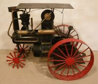 Vintage Hand Made Metal Toy Steam Engine Tractor Unique Metal Design Decor