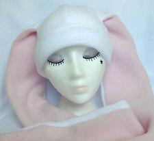 PAWSTAR Long Ear Bunny Fleece Hat Kawaii Sweet Lolita White Pink [SNOWY]1503