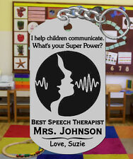 SPEECH Therapist Engraved Keychain, Personalized w' NAME! Special Gift