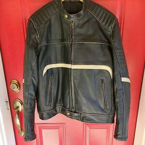 XELEMENT Racer Leather Padded MOTORCYCLE Biker Lined JACKET Mens  Large EUC!