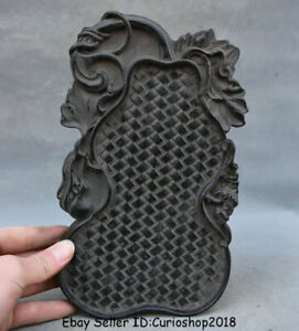 """9.2"""" Old China Ebony Black Wood Carved Dynasty bamboo weaving Gourds Plate Tray"""