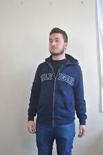 Retro vtg 90s Tommy Hilfiger zip hoodie jumper navy blue spellout loose - XS