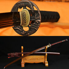 RED DAMASCUS STEEL 8192 LAYERS TEMPERED BLADE JAPANESE SAMURAI KATANA HAWK SWORD