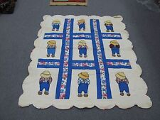 "Vintage  Crib Baby Quilt Boy Blue Hand Stitched 36"" x 50"" Cotton Applique"