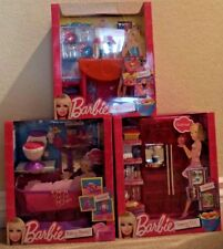 BARBIE FRIDGE BATHROOM & DINING ROOM SET OF 3 FURNITURE T8007