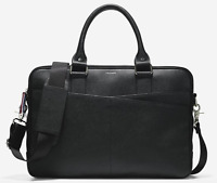 Cole Haan American Airlines Men's Slim Leather Briefcase Laptop Bag Rg $395 NEW