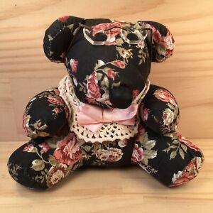 "GRANNY MAY THE BEAR ""Black"" Beautiful Floral Teddy Bear Soft Toy Stuffed Animal"