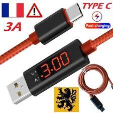 Câble Cordon chargeur RAPIDE USB-C 5V 3A 1m Samsung Androïd LED ÉCRAN TESTEUR