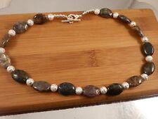 "18"" Pietersite Necklace - 16mm stones - brown, blue, white, black"